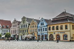 Houses on Town Square in Frydlant Czech Republic Royalty Free Stock Photography