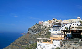 Houses in the town of Thira, the capital of the island of Santorini in Greece Stock Photography