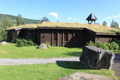 Houses with traditional Norwegian grassy roofs Stock Photo
