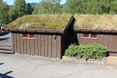Houses with traditional Norwegian grassy roofs Royalty Free Stock Images
