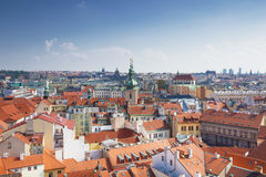 Houses with traditional red roofs in Prague Old Town Royalty Free Stock Images