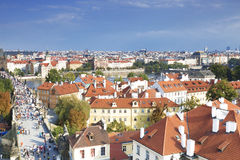 Houses with traditional red roofs in Prague Old Town Stock Images