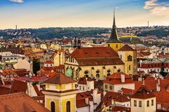 Houses with traditional red roofs in Prague. Royalty Free Stock Photo
