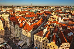 Houses with traditional red roofs in Prague. Royalty Free Stock Images