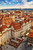 Houses with traditional red roofs in Prague. Royalty Free Stock Image