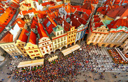 Houses with traditional red roofs in Prague. Old Town Square. Royalty Free Stock Images