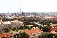 Houses with traditional red roofs in Prague Royalty Free Stock Photography