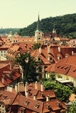 Houses with traditional red roofs in Prague. Stock Photos
