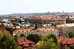 Houses with traditional red roofs in Prague. Royalty Free Stock Photos