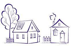Houses with a tree, pictogram Royalty Free Stock Photography
