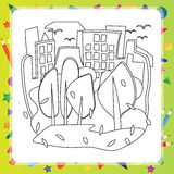 Houses and trees - Autumn coloring book Royalty Free Stock Photography