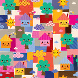 Houses, trees and clouds kids pattern Royalty Free Stock Photo