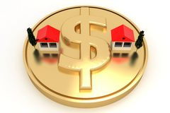 Houses and trees on Dollar Coin Stock Photo