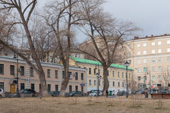 Houses and trees in Khitrovskaya Square in Moscow Stock Photos