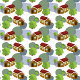 Houses and trees pattern Royalty Free Stock Photo