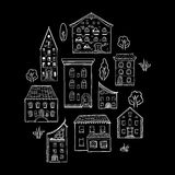 Houses and Trees Sketch Black Stock Photography