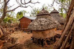 Houses of tribe Konso. In Ethiopia Royalty Free Stock Photos