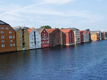 Houses of Trondheim in Norway Stock Image