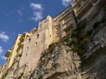 Houses of Tropea. Close of the houses of the borgo of Tropea to I overhang from the fortress Stock Photo
