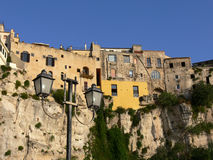 Houses of Tropea. Close of the houses of the borgo of Tropea to I overhang from the fortress Royalty Free Stock Images