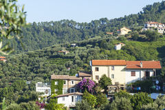 Houses in tuscany forest Royalty Free Stock Photography