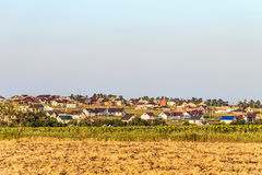 Houses under construction in the Russian village stock photography