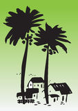 Houses under palm trees. Illustration of village house under two silhouetted palm trees; green background Stock Photo