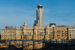 Houses and unfinished pit in Moscow. Paveletskaya Station royalty free stock images