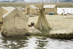 Houses on the Uros Floating Islands made of tortora rushes Stock Photography