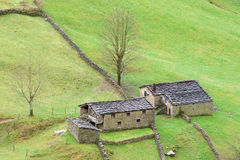 Houses of the valley of the Pas Stock Images