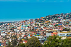 Houses on Valparaiso. View of houses on Valparaiso hills, Chile Stock Photography