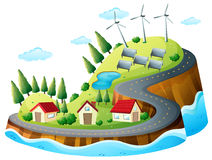 Houses, vanes and solar energy Royalty Free Stock Images