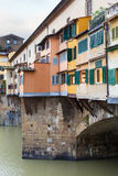 Houses and Vasari corridor on ponte vecchio Royalty Free Stock Photography