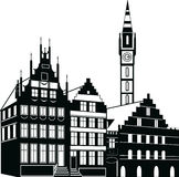 Houses Vector Illustration Black Royalty Free Stock Photography