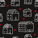 Houses, vector seamless pattern Royalty Free Stock Images