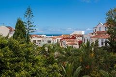 Houses and vegetation by Tenerife coast Stock Photo