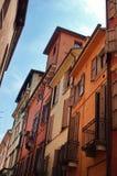 Houses in Verona city. Traditional colorful house in narrow street, Verona city, Veneto, Italy Royalty Free Stock Images