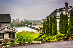 Houses and view of Harrisburg from a hilltop in Lemoyne, Pennsyl Royalty Free Stock Photo