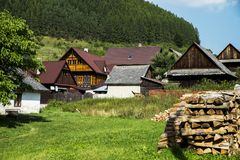 Houses in the Village Cicmany - Slovakia. Royalty Free Stock Images