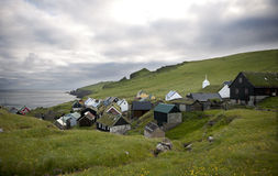 Houses in the village of the Island Mykines Stock Photography