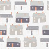 Houses Village Vector xmas Repeat Grey Background royalty free illustration