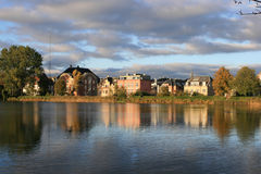 Houses by water. In Copenhagen, Denmark royalty free stock photography
