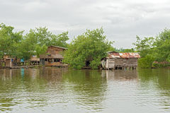 Houses on the water in Almirante, Panama Royalty Free Stock Photos