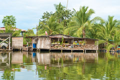 Houses on the water in Almirante, Panama Stock Photos