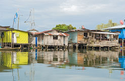 Houses on the water in Almirante, Panama Stock Images