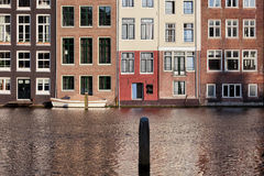 Houses on Water in Amsterdam Netherland Stock Images