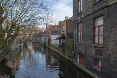 Houses on the water, Bruges, Belgium. Bruges - Belgium jewel and one of the most romantic cities on earth Stock Photo