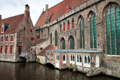 Houses on water in Brugge Stock Image