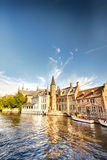 Houses by the water in Brugge, Belgium royalty free stock photography