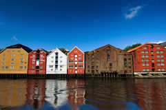 Houses on the water, Trondheim, Norway. Colorful houses on the water, Trondheim, Norway Stock Photos